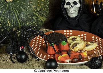biscuits, halloween, décor, plaqué