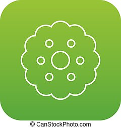 Biscuits icon green vector