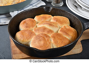Biscuits in a cast iron skillet - Hot, fresh baked biscuits ...
