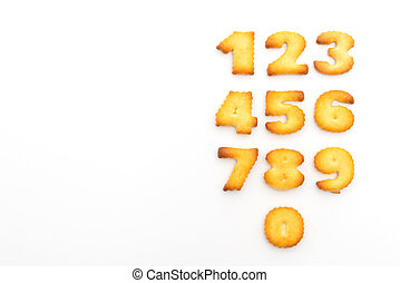biscuits in a set of numbers on white background