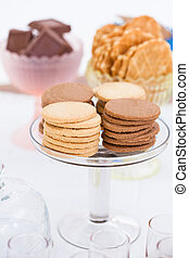 Biscuits on glass tray