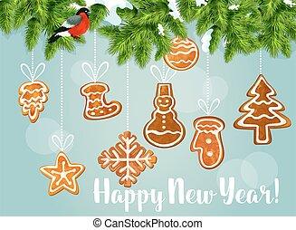 biscuits pain épice, arbre, pin