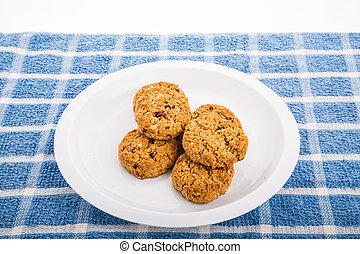 biscuits, raisins secs, fou, flocons avoine, canneberges, frais cuit