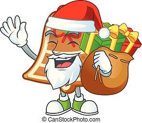 biscuits, sac don, conception, caractère, dessin animé, santa, cloche