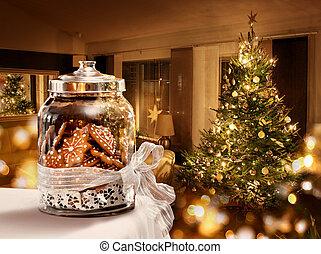 biscuits, salle, arbre, pot, pain épice, noël