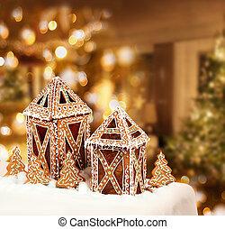 biscuits, salle, petites maisons, arbre, pain épice, noël