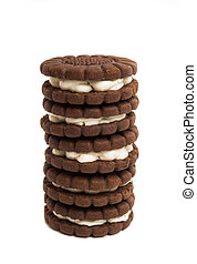 biscuits sandwich with cream isolated