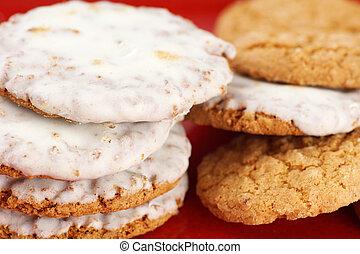 biscuits, sans, empilé, glaçage