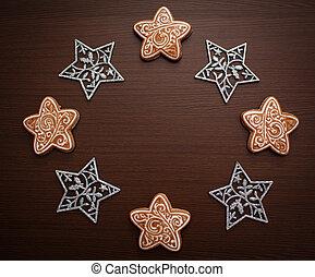 biscuits, stars., plat, arrière-plan., poser, nouveau, 2020, flocons neige, wreaths., année, concept., composition., noël, sommet, décoration, bois, vue., pain épice, hiver