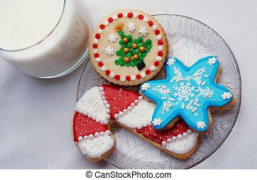 biscuits, sucre, artistiquement, décoré, coupé, noël