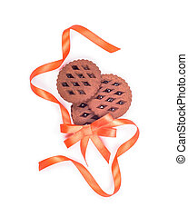 biscuits with a gift ribbon isolated on white