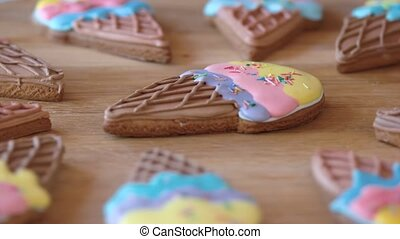 Biscuits with colorful glaze close up. Colorful decorated...