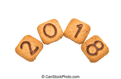 biscuits with numbers isolated
