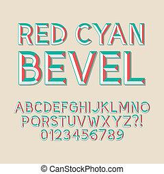 biseau, nombres rouges, cyan, alphabet