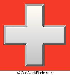 biseauté, blanc, croix