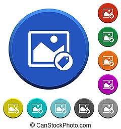 biseauté, boutons, image, étiquetage