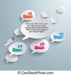 bisel, burbujas, infographic, discurso, diseño