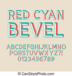 bisel, números rojos, cian, alfabeto