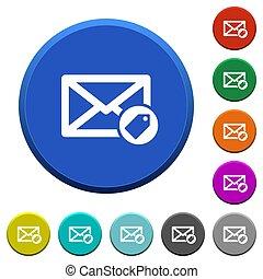 biselado, correo, tagging, botones