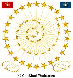 biselado, estrella, elementos, diseño, oro