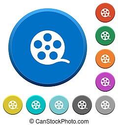biselado, película, rollo, botones