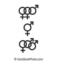 Bisexual icons set. Vector illustration, flat design.