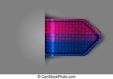 Bisexual pride flag in the form of a glossy textured label or bookmark.
