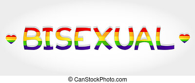 Bisexual stylized word with rainbow and two heart