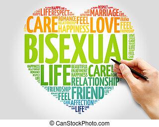 bisexuel, concept, coeur