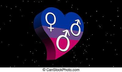 bisexuel, homme, dans, couleur pavillon, coeur, dans, nuit,...