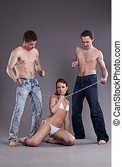 bisexuel, hommes femmes, à, chaîne