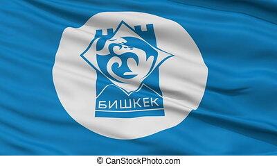 Bishkek City Close Up Waving Flag