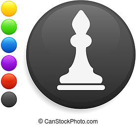 bishop chess piece icon on round internet button original...