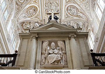 Bishop Sculpture in Cordoba Cathedral - Bishop holding keys...