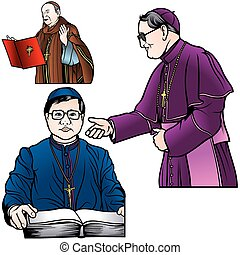 Bishop Set - Colored Illustrations, Vector