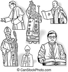 Bishop Set - Outlined Illustrations, Vector
