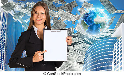 Bisinesswoman hold paper holder. Buildings and Earth. Dollars falling from the sky