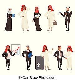 bisinesswomen, professionnels, ensemble, travail, vecteur, arabe, caractères, illustrations, hommes affaires
