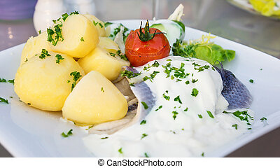 Bismarck herring with cream sauce