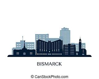 Bismarck skyline, monochrome silhouette.