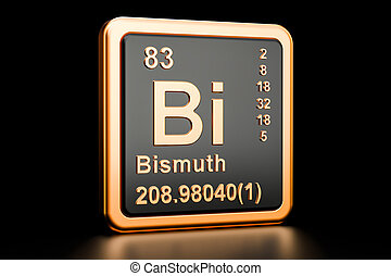 Bismuth Bi chemical element. 3D rendering