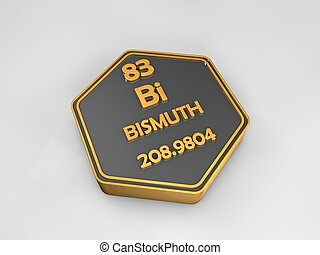Bismuth - Bi - chemical element periodic table hexagonal shape 3d render