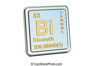 Bismuth Bi, chemical element sign. 3D rendering