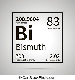 Bismuth chemical element with first ionization energy, atomic mass and electronegativity values ,simple black icon with shadow