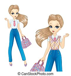 Bisness Girl In Blue Trousers - Vector illustration of...