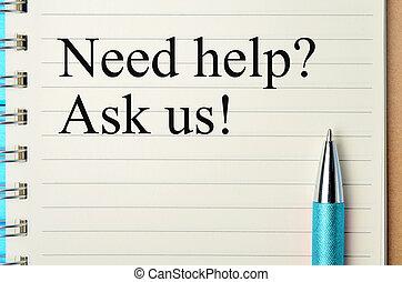 bisogno, blocco note, domanda, aiuto