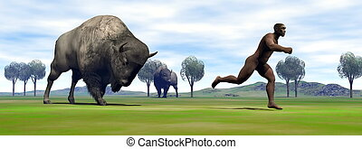 Aggressive bison charging Homo Erectus man running out to escape