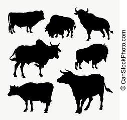 Bison, cow, buffalo and bull animal silhouette