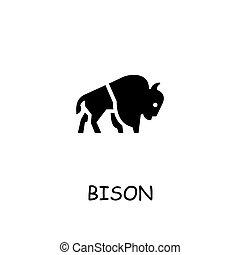 Bison flat vector icon