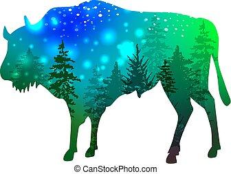 bison, forêt verte, silhouette, espace, intérieur